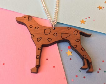Dog Necklace - Dalmatian Gifts - Dog Jewellery - Dalmatian Necklace - Spotted Dog - Wooden Dog  - Dog Lover Gift - Laser Cut Dog - Brighton
