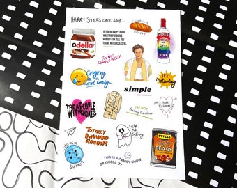 Harry Styles Once Said Sticker Set, Iconic Quotes 1D, 20 Stickers