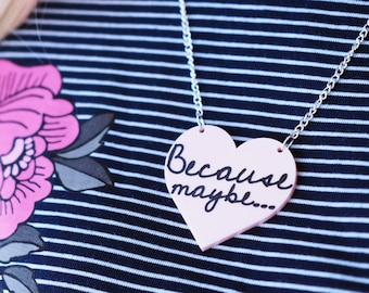 Love Pendant, Pink Heart Necklace, Heart Jewellery, Wonderwall, 90's Lyrics, Acrylic Heart Necklace, Love, Gifts for her, Laser Cut Heart