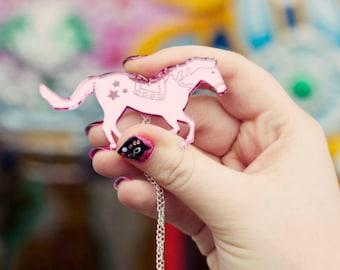 Horse Necklace - Horse Pendant - Horse Jewellery - Carousel Horse Necklace - Pony Necklace - Retro Jewellery - Laser Cut Horse