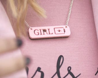 Girl Power Necklace, Girl Power Jewellery, Feminist Jewellery, Girl Power, Feminist Necklace, Women Empowerment, Gift for Her, Inspirational