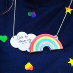 Dare to Dream Big, Rainbow Necklace, Daydreamer Jewellery, Cloud Pendent, Magical Necklace, Keep Dreaming, Teen Birthday, Motivational Gift
