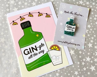 Gin Lover Christmas Brooch & Card Gift Set, Holiday Jewellery