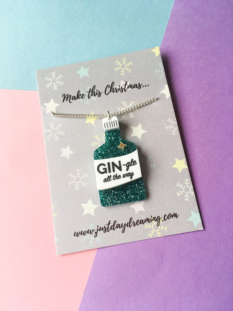 Gin Gifts Christmas Jewellery Gin-gle All The Way Necklace image 0