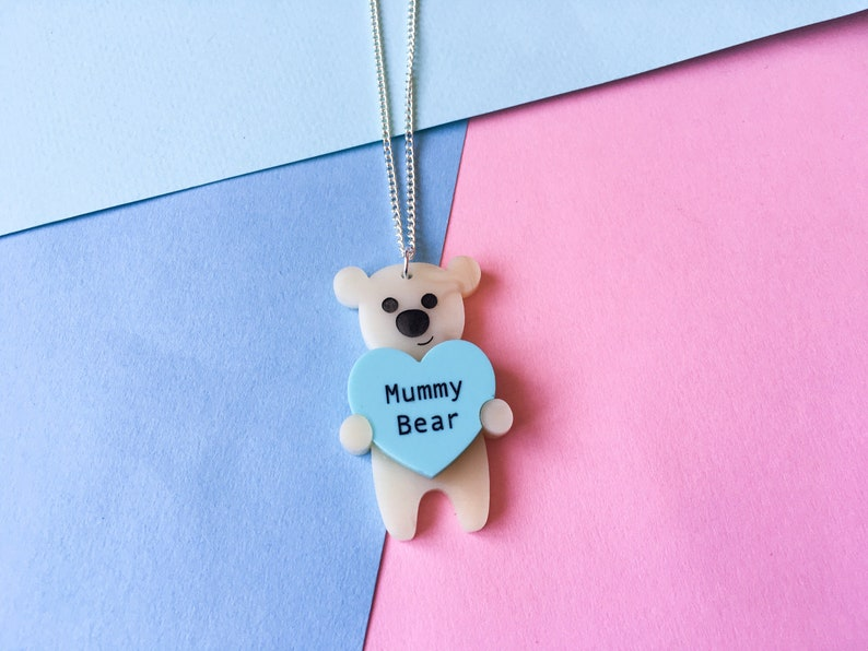 Mummy Bear Necklace Mother's Day Gift Easter Pendant Honey & Mint Heart