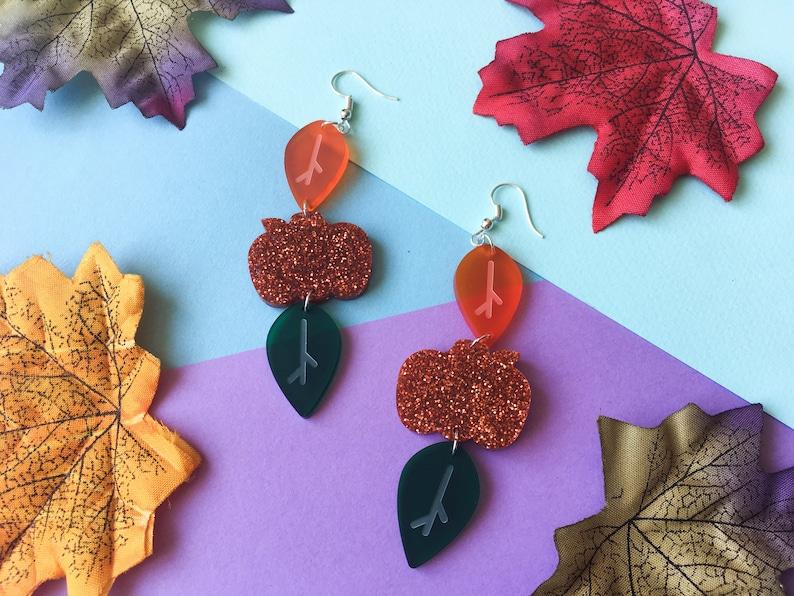 Orange Pumpkin Earrings Halloween Outfit Autumn Acrylic image 0