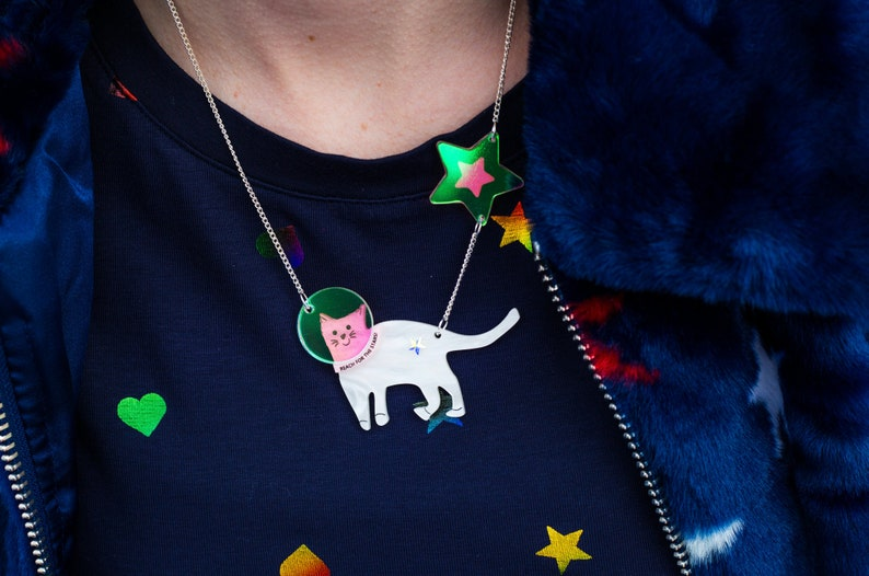 Space Cat Necklace Reach for the Stars Iridescent Star image 0