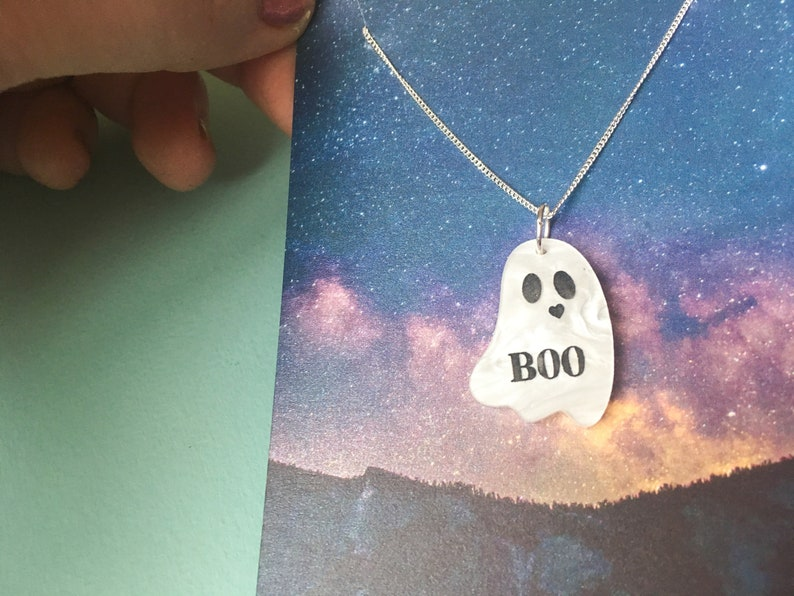 Tiny Ghost Necklace You're my Boo Halloween Jewellery image 0