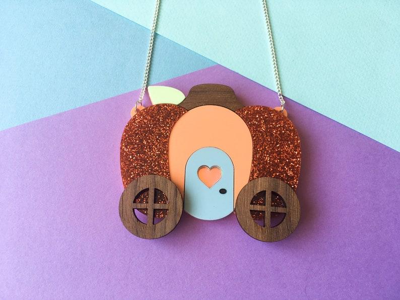Glitter Pumpkin Carriage Necklace Halloween Jewellery image 0