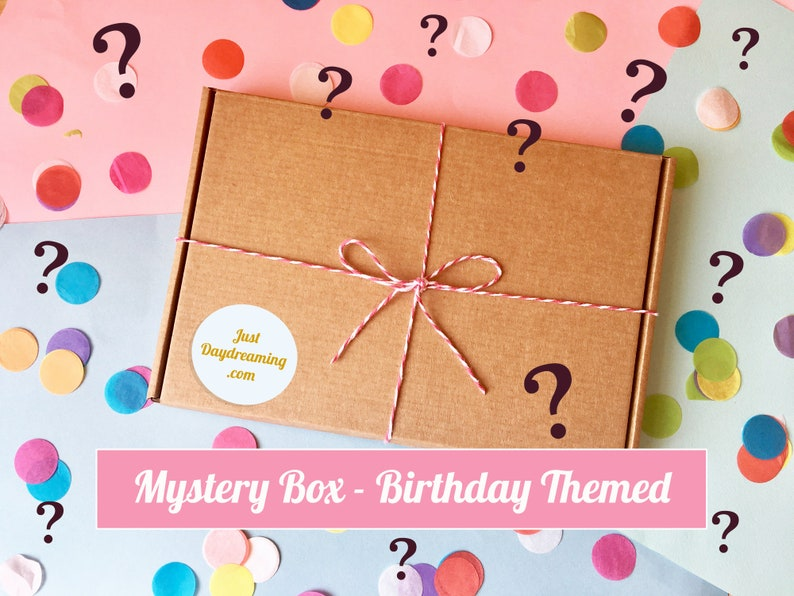 Birthday Themed Mystery Box Goody Bag Lucky Dip Box Birthday Box Grab Bag Mixed Box Birthday Cards Gift For Her Gift For Teen