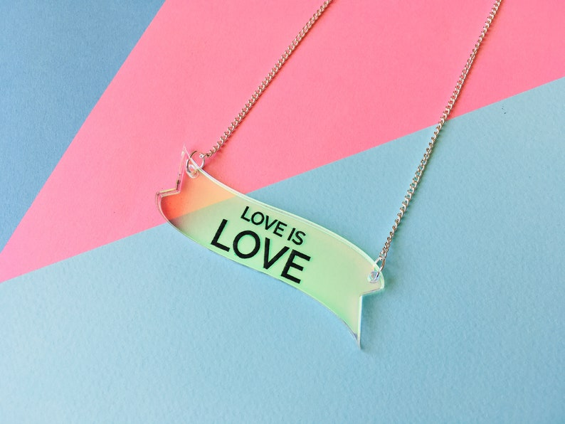 Love is Love Pride Necklace Iridescent Rainbow Statement image 0
