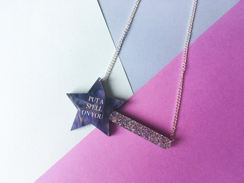 Put A Spell on You Wizard Necklace Magic Wand Hocus Pocus image 0