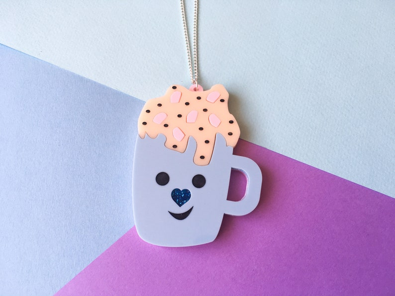 Cute Hot Chocolate Mug Necklace Winter Jewellery Christmas image 0