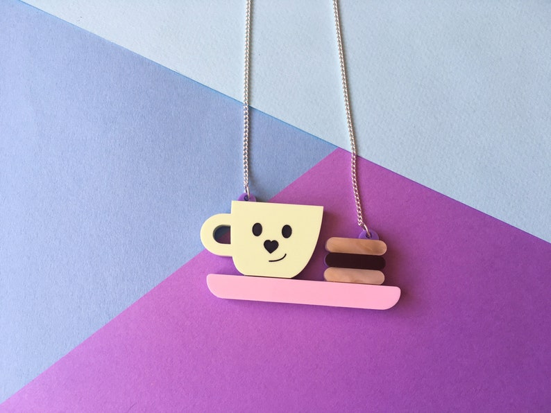 Tea and Biscuits Necklace Cute Winter Jewellery Pastel image 0