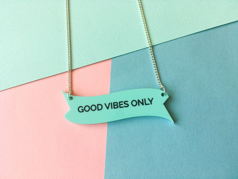 Good Vibes Only Slogan Necklace Mint Green