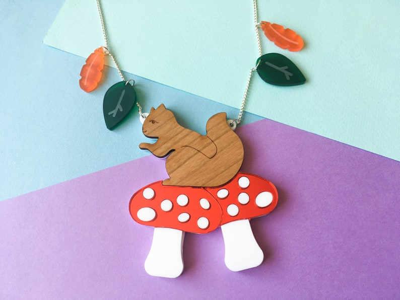 Squirrel and Mushroom Autumn Leaves Necklace Woodland image 0
