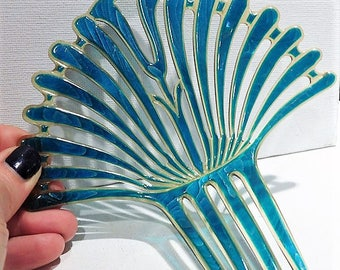 Large Antique Hair Comb / Blue Moire'  / Celluloid Comb / Wedding Hair Accessory