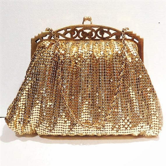 Whiting Davis / Gold Enamel Mesh / Handbag / Pouch / Purse / 1940s Fashion / Art Deco / Mid Century / Open Framework / Filigree Frame