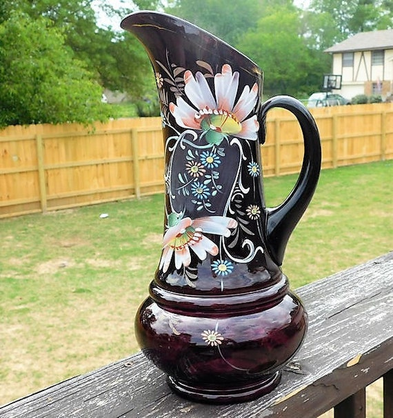 "Amethyst Glass Pitcher / Enamel Hand Painted / Victorian Tankard / 13"" Tall"