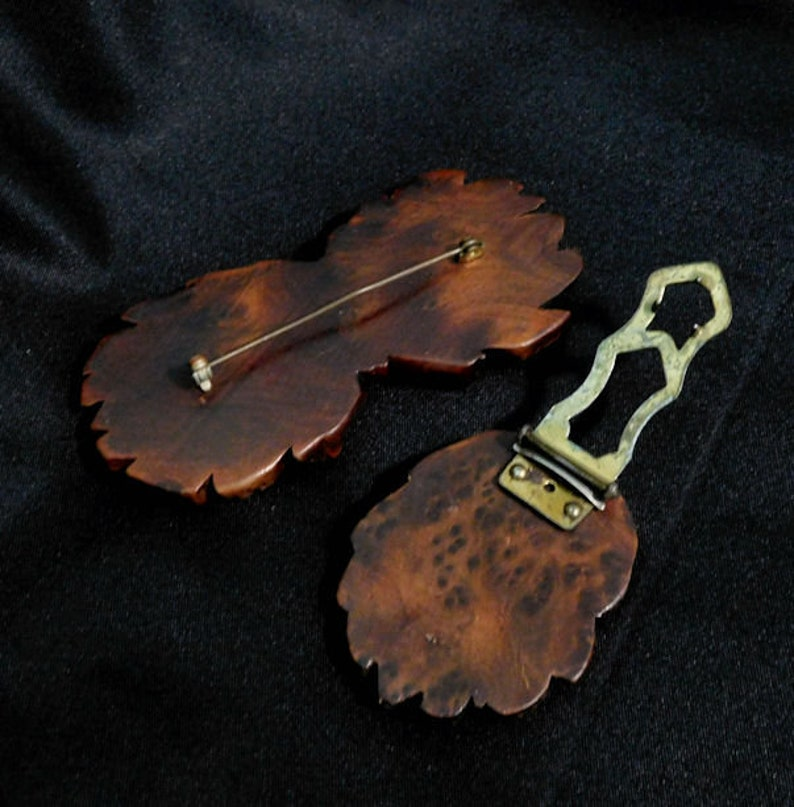 Vintage 40s Hand Carved Wood Wooden Brooch and Matching Fur Clip
