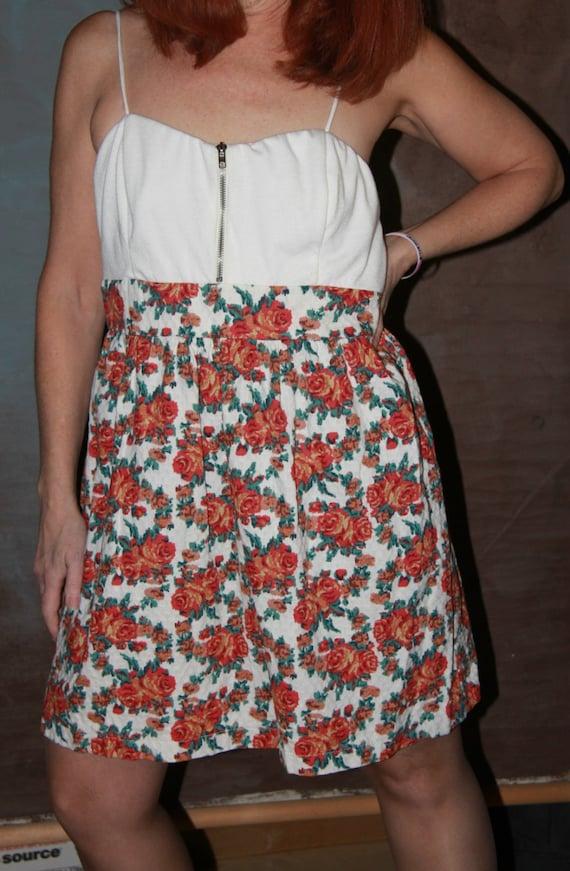 Floral Mini Dress/Womans XL Mini Dress/Vintage Min