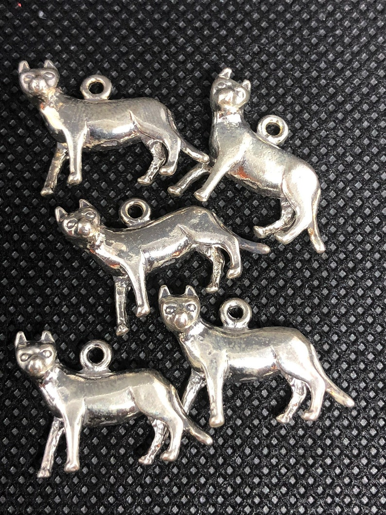 5pc Standing Cat 3-D Sterling Silver Charm  set of five image 0