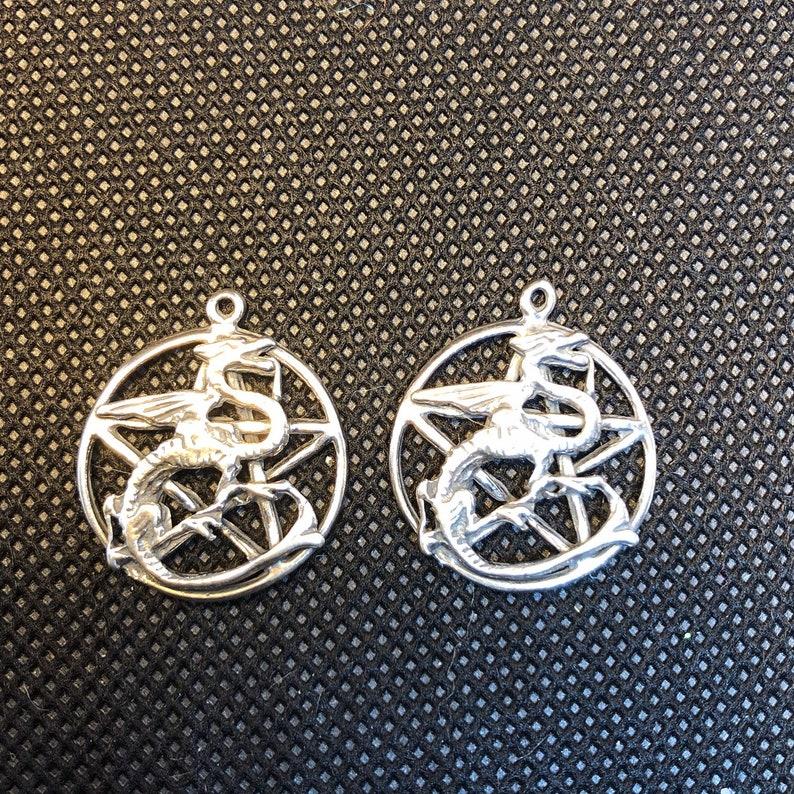 2pc Dragon Pentacle Pentagram Sterling Silver Charm  set of image 0