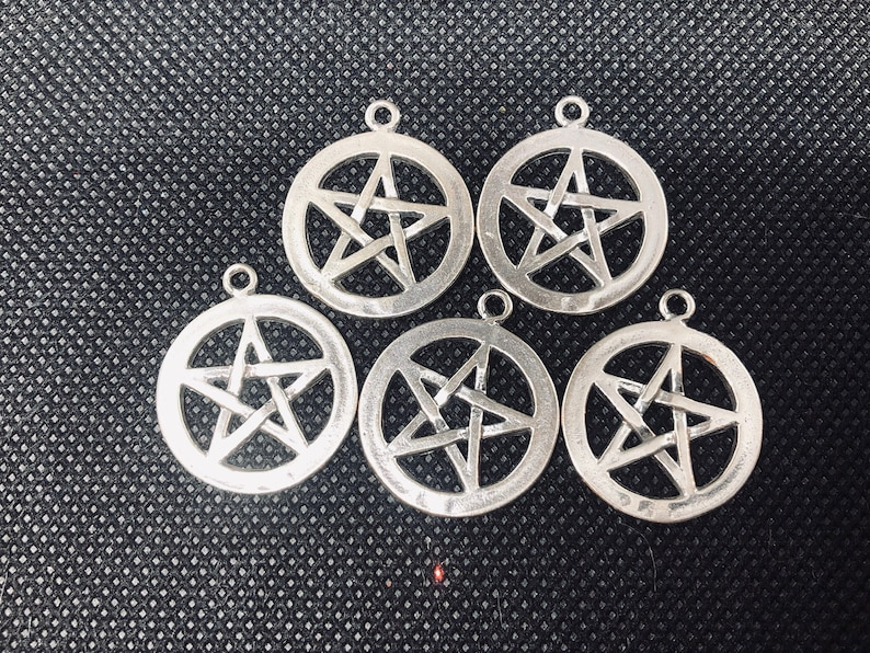 5pc Pentacle Pentagram Sterling Silver Charm  set of five image 0
