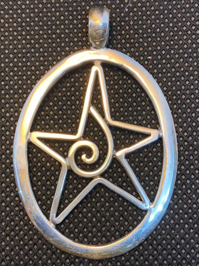 Large Power Spiral Pentacle Pentagram Sterling Silver Charm image 0