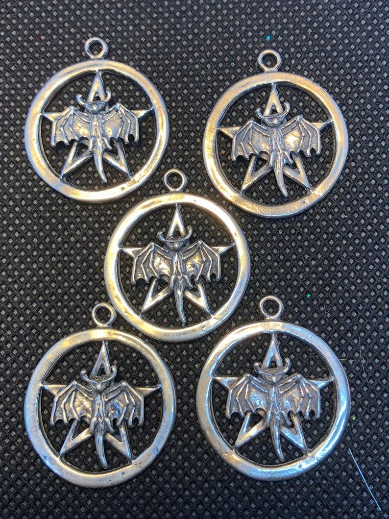 5pc Bat Pentacle Pentagram Sterling Silver Charm  set of five image 0