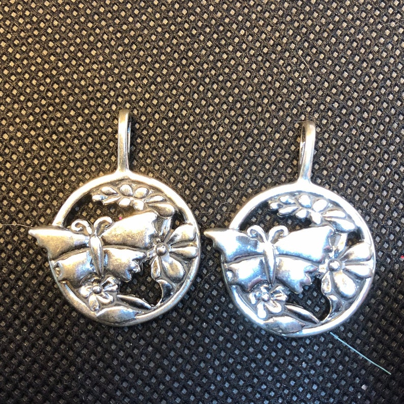 2pc Vintage Butterfly and Flower Sterling Silver Charm  set image 0