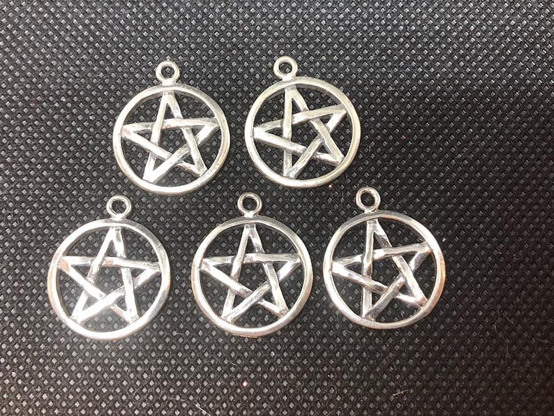 5pc Pentacle Pentagram 3-D Sterling Silver Charm  set of five image 0