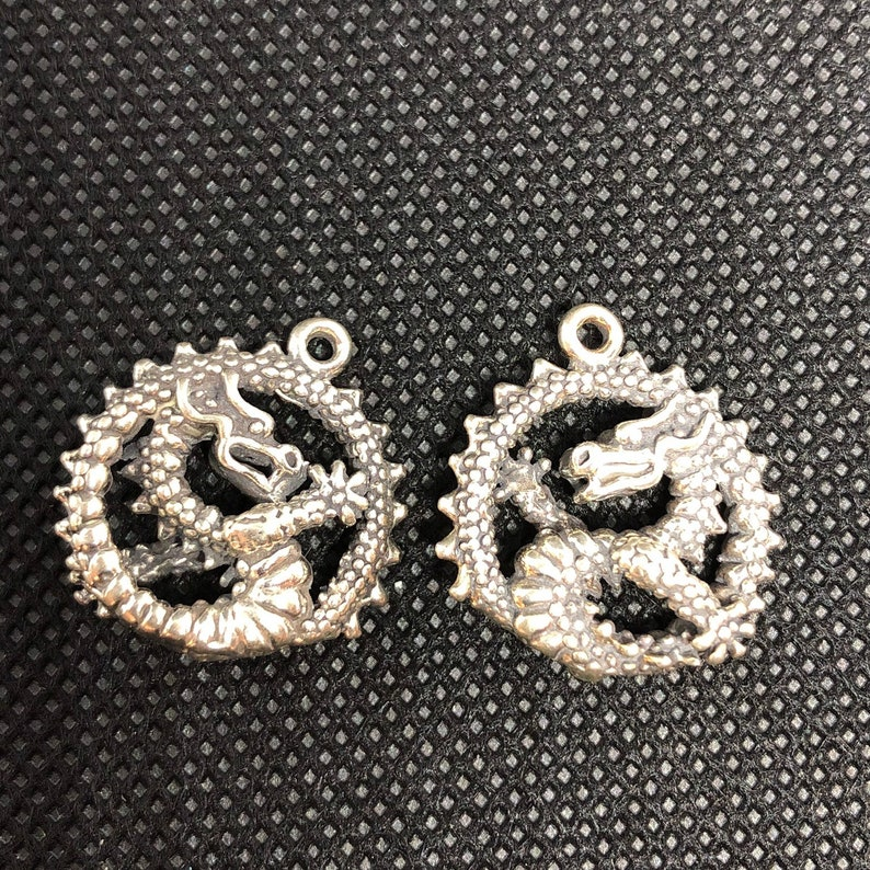 2pc Curled Medieval Dragon 3-D Sterling Silver Charm  set of image 0