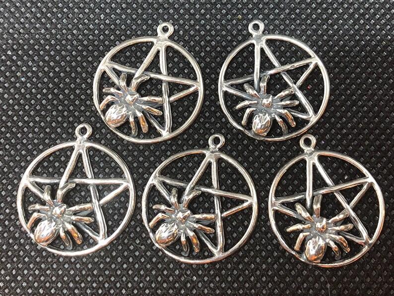 5pc Spider Pentacle Pentagram 3-D Sterling Silver Charm  set image 0