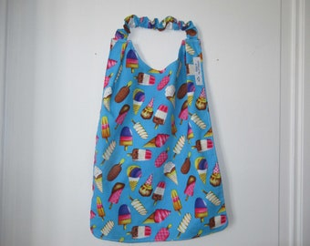 Napkin, canteen napkin, elasticated neckline napkin, maternal bib, Eskimo and ice cream, back to school
