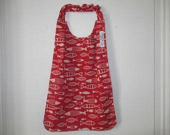 Napkin, mixed canteen napkin, elasticated neckline napkin, kindergarten bib, fish, red, back to school