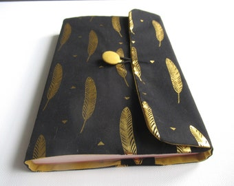 Book protection, book protection, book cover, mixed gift, chic and festive, black cotton, golden feathers, format to choose from, Father's Day