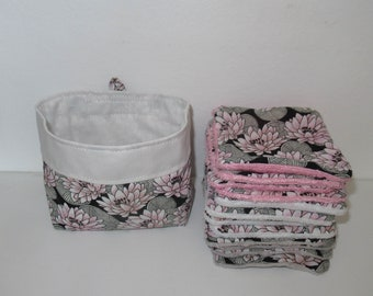 Washable wipes, baby wipes, make-up remover cotton, water lily flowers, pink and black, lined bamboo sponge, microfiber, minky