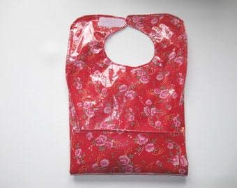 Tank bib, receptacle bib, bib coated canvas, pink floral red, Petit Pan fabric, baby girl birth gift