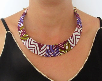 Ethnic necklace, breast collar, wax necklace, textile jewelry, African fabric, Mother's Day gift, neck collar, mauve