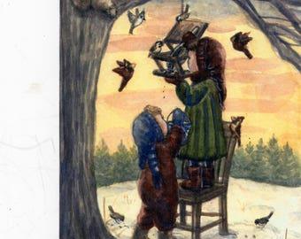 Birds, Feeding Birds, Winter Wall Art, Cardinals, bobbi becker