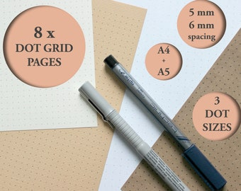 8 x DOT GRID Pages Paper Bullet Journal Notebook Sketchbook Filler A5 A4 Dotted Artist Architect Printable Note Taking Planner Student