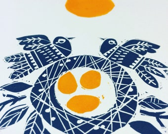 New Nest - handmade lino cut, limited edition of only 20.