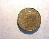 1942 British 3 Pence Coin 923 Fine Condition