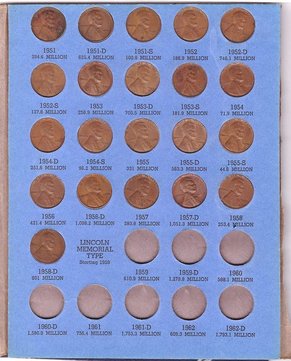 DIFFERENT LINCOLN CENTS 1941-1958 PDS NICE CIRCULATED COINS! 51 COMPLETE SET