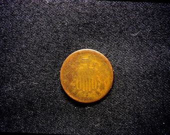 1866 Two Cent #28 US Copper Coin From Civil War Era