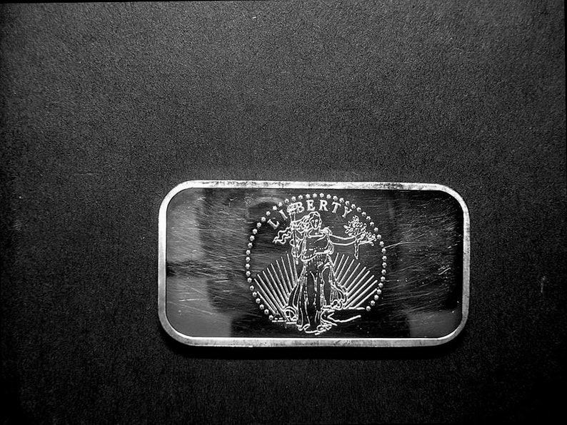 1 Troy Oz.,#822 Washington Mint 1973  Lady Liberty  Art Bar Solid .999/%  Silver