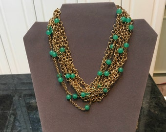 Vintage Torsade Necklace with Green Beads