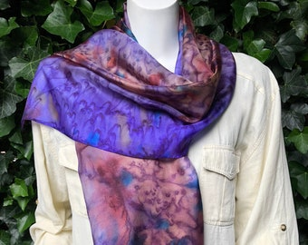 Silk shawl, womens scarf,purple, brown. Handmade for women.