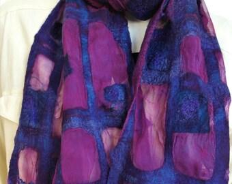 Nuno felt shawl. Silk, felt scarf blue purple. Handmade for women.